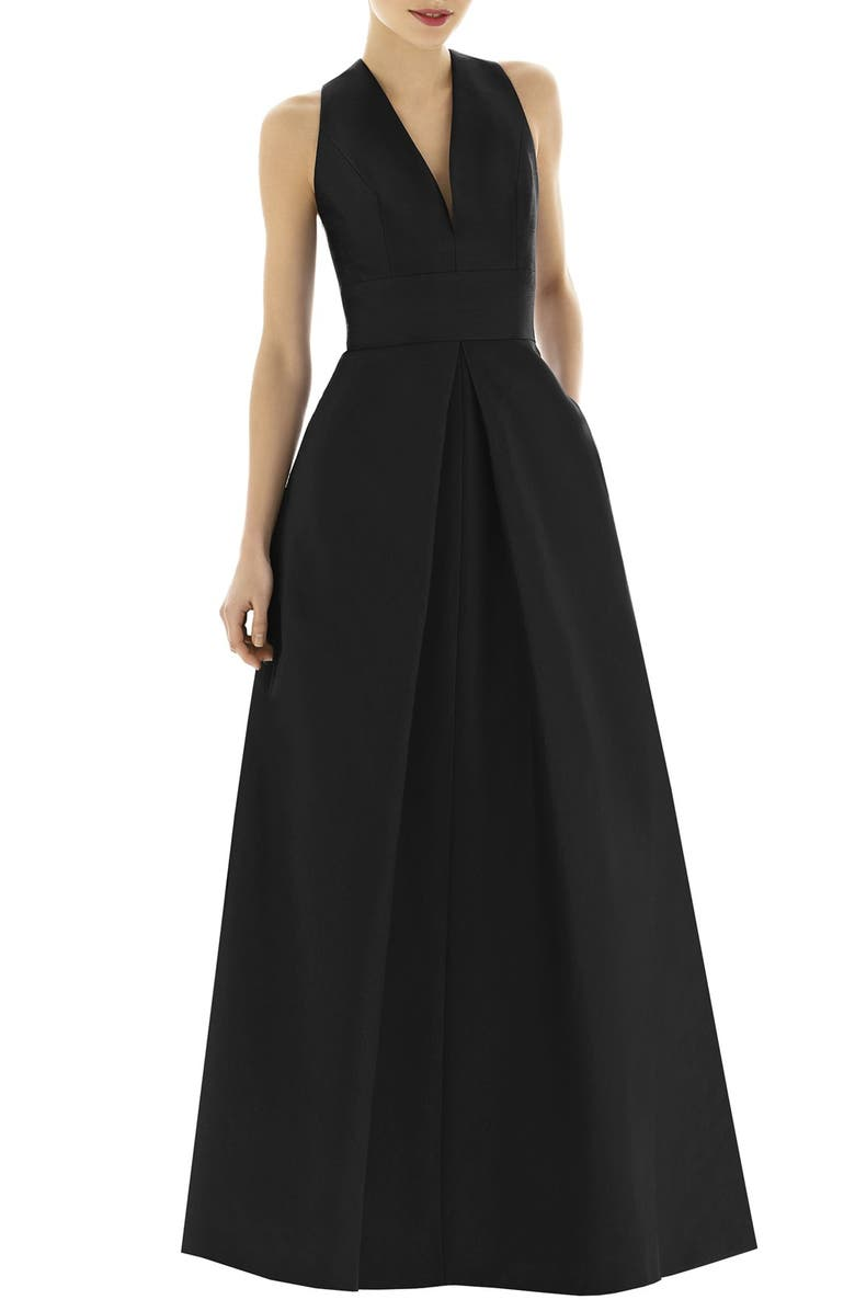 ALFRED SUNG V-Neck Dupioni Evening Gown, Main, color, BLACK