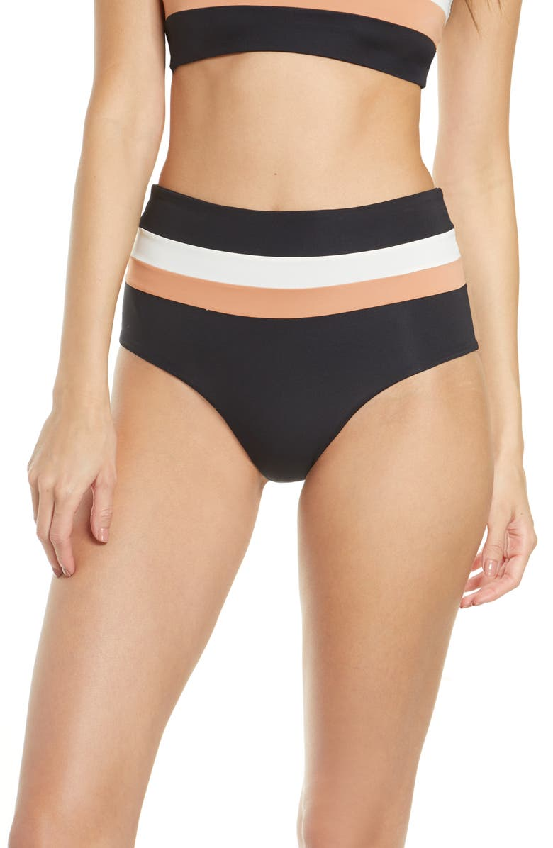 L SPACE Portia Reversible High Waist Stripe Bikini Bottoms, Main, color, BLACK/ CREAM/ CHESTNUT
