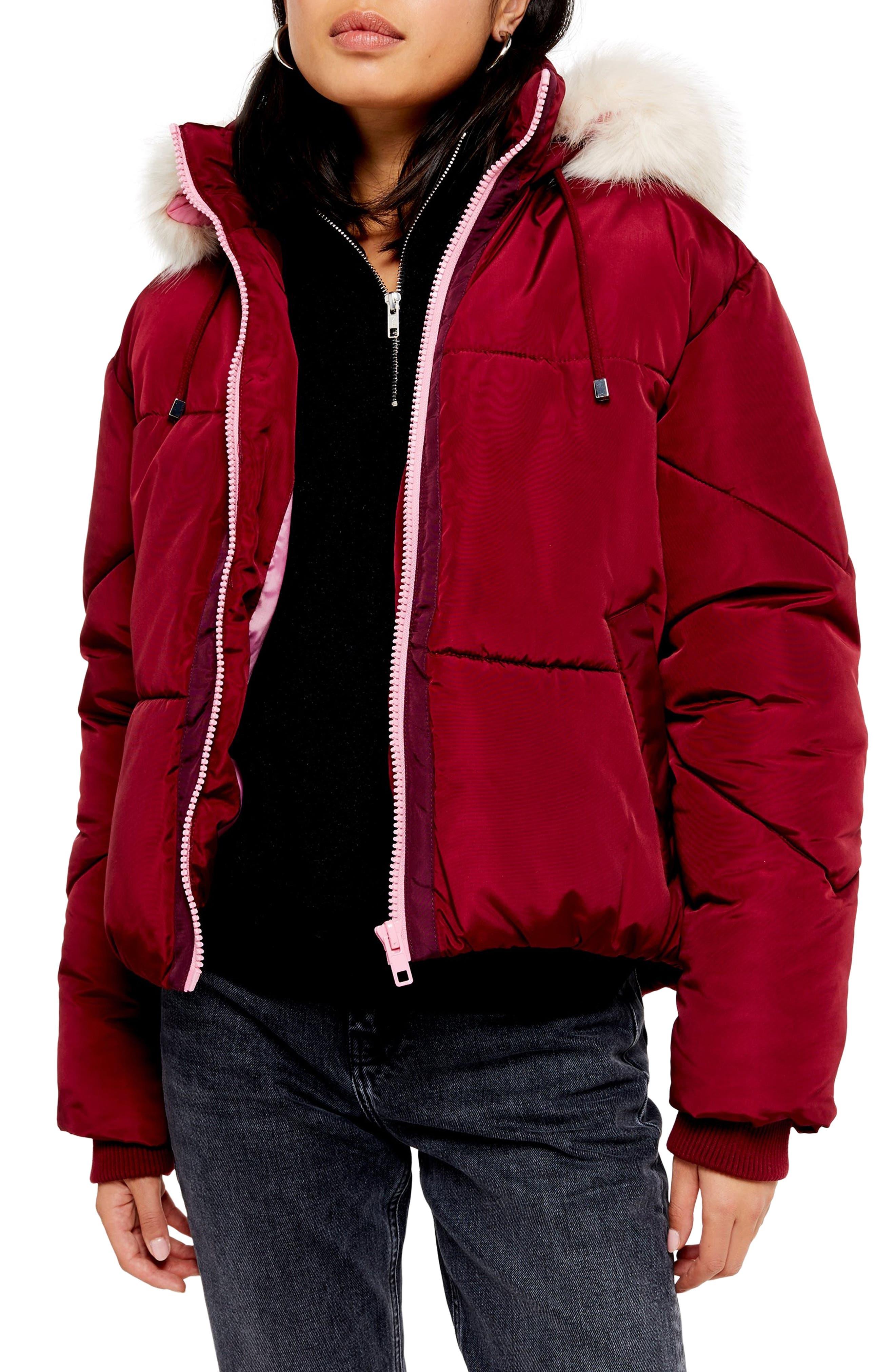 Topshop Lauren Faux Fur Hooded Puffer Jacket (Regular & Petite)