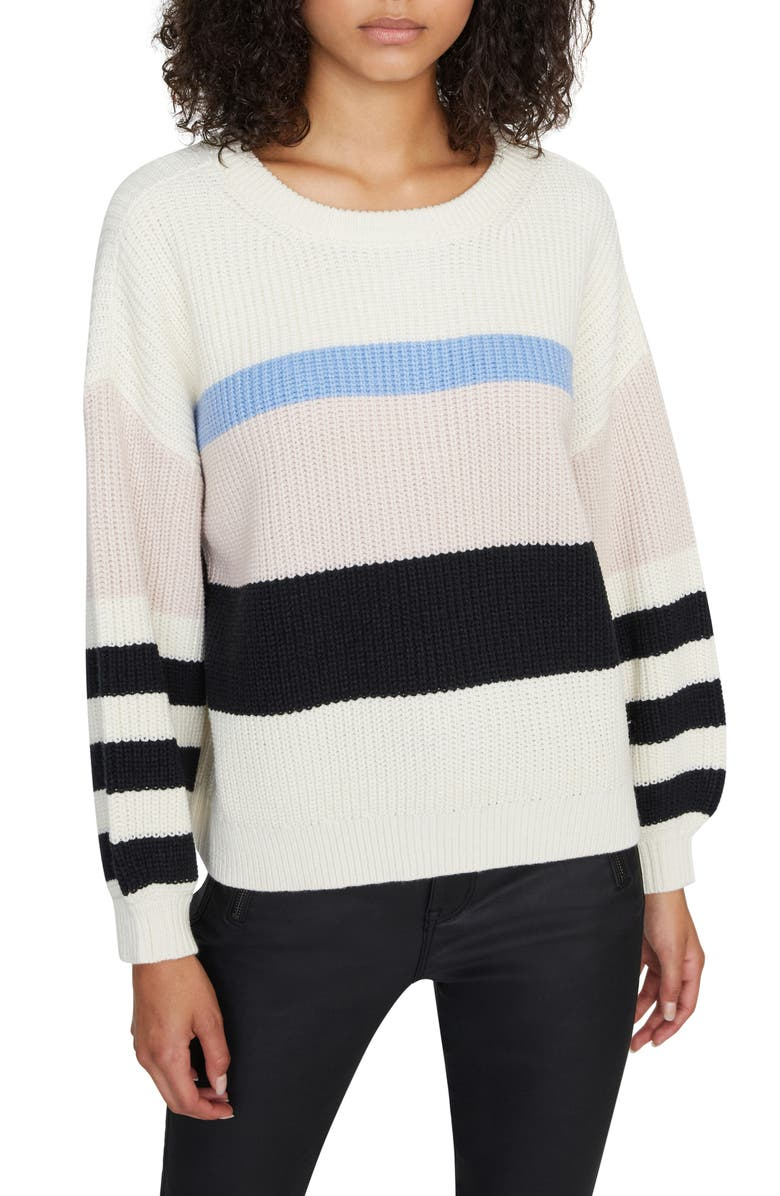 SANCTUARY Playful Stripe Shaker Stitch Sweater, Main, color, MOONSTONE S LT BLU LT PRL BLK
