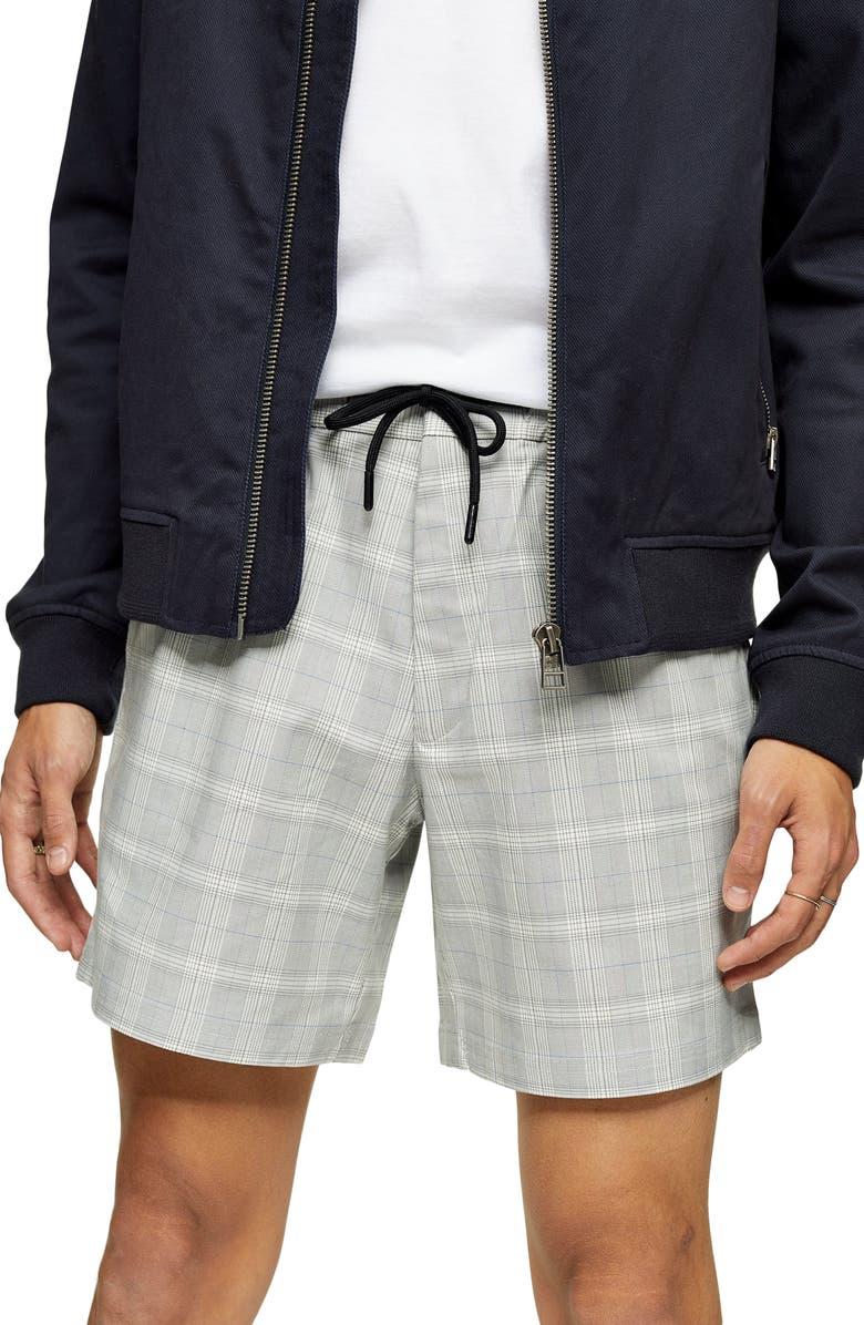 TOPMAN Check Print Shorts, Main, color, GREY