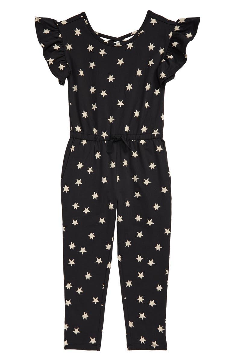 TEA COLLECTION Scoop Back Ruffle Jumpsuit, Main, color, 001