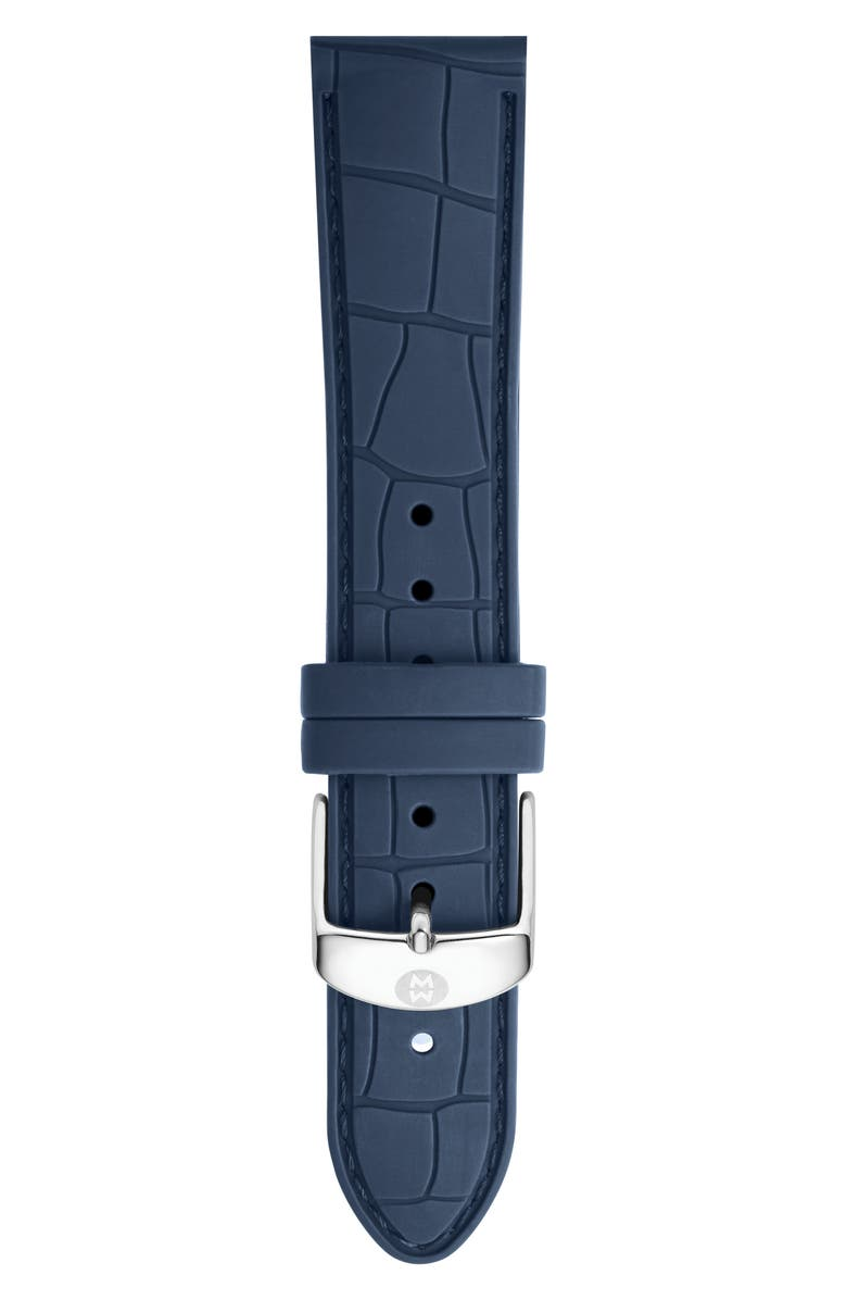 MICHELE 16mm Croc Embossed Silicone Strap, Main, color, NAVY