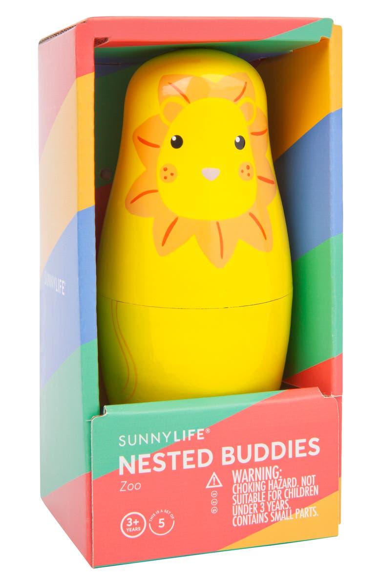 SUNNYLIFE Zoo Buddies Set of 5 Nesting Dolls, Main, color, 960