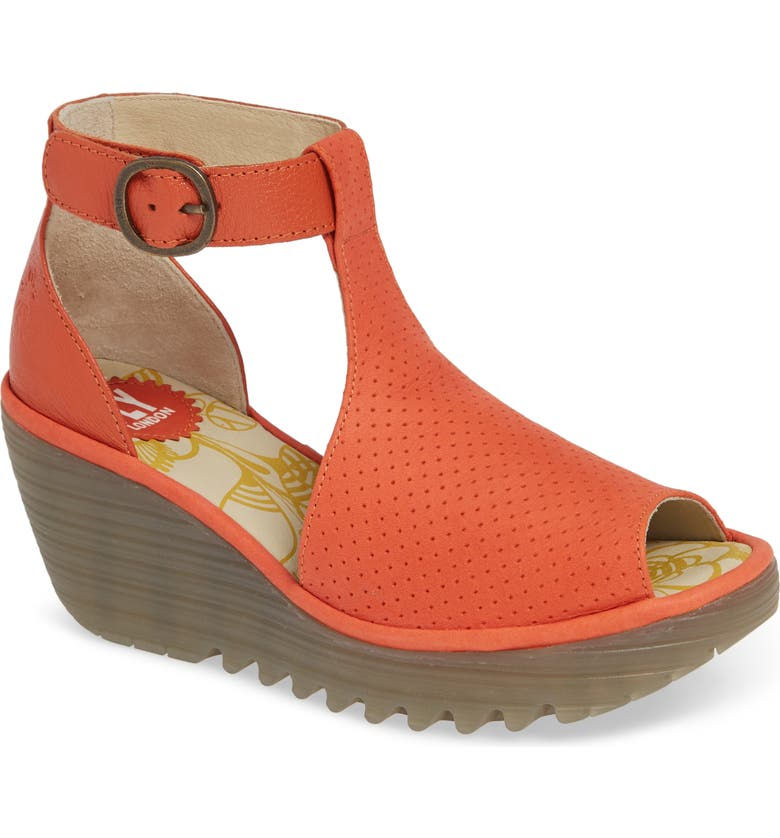 FLY LONDON Yall Sandal, Main, color, POPPY ORANGE CUPIDO/ MOUSSE