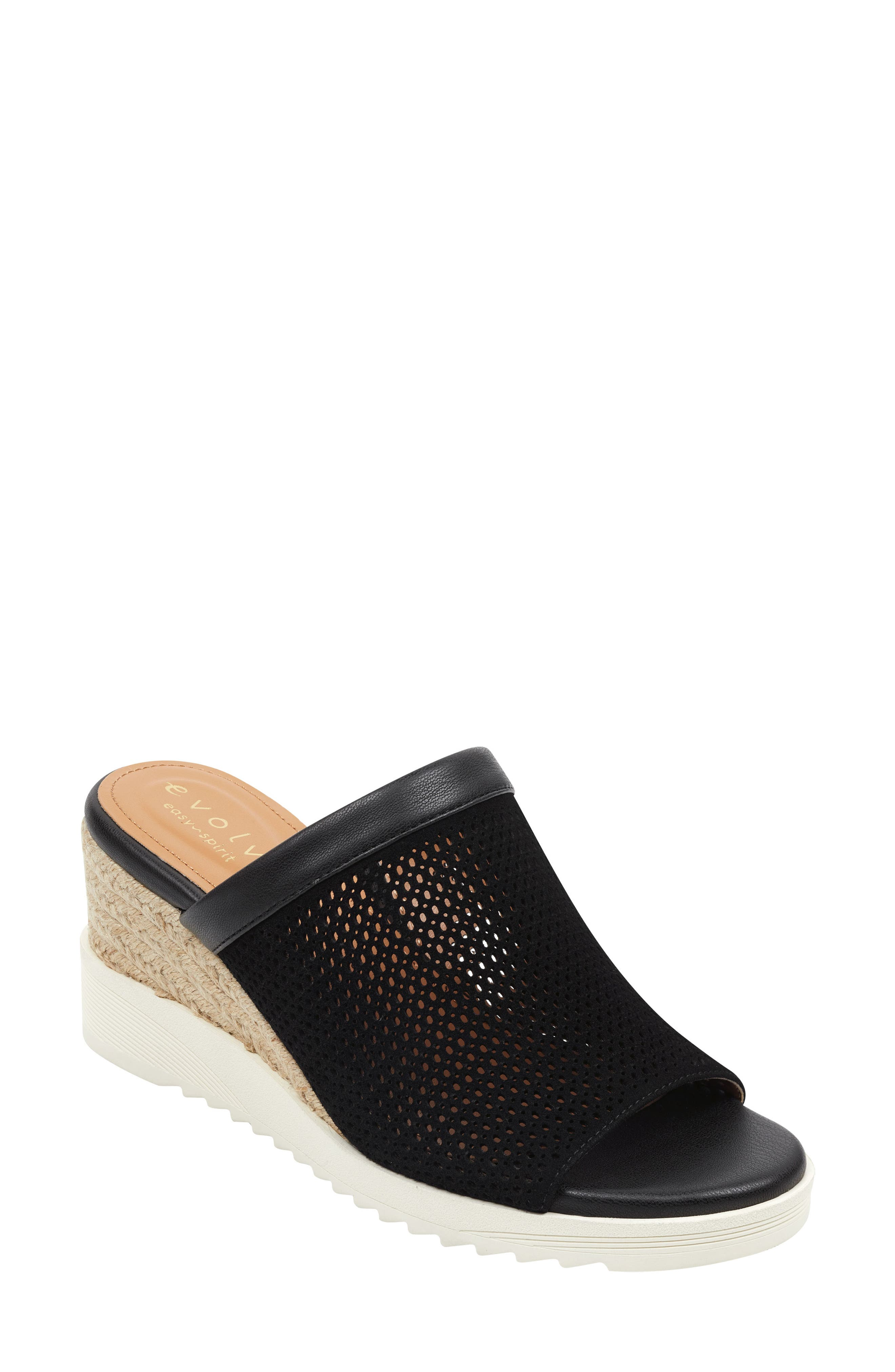 Zooey Wedge Slide Sandal, Main, color, BLACK SUEDE