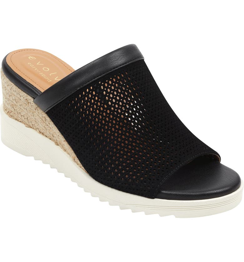 EVOLVE Easy Spirit Zooey Wedge Slide Sandal, Main, color, BLACK SUEDE