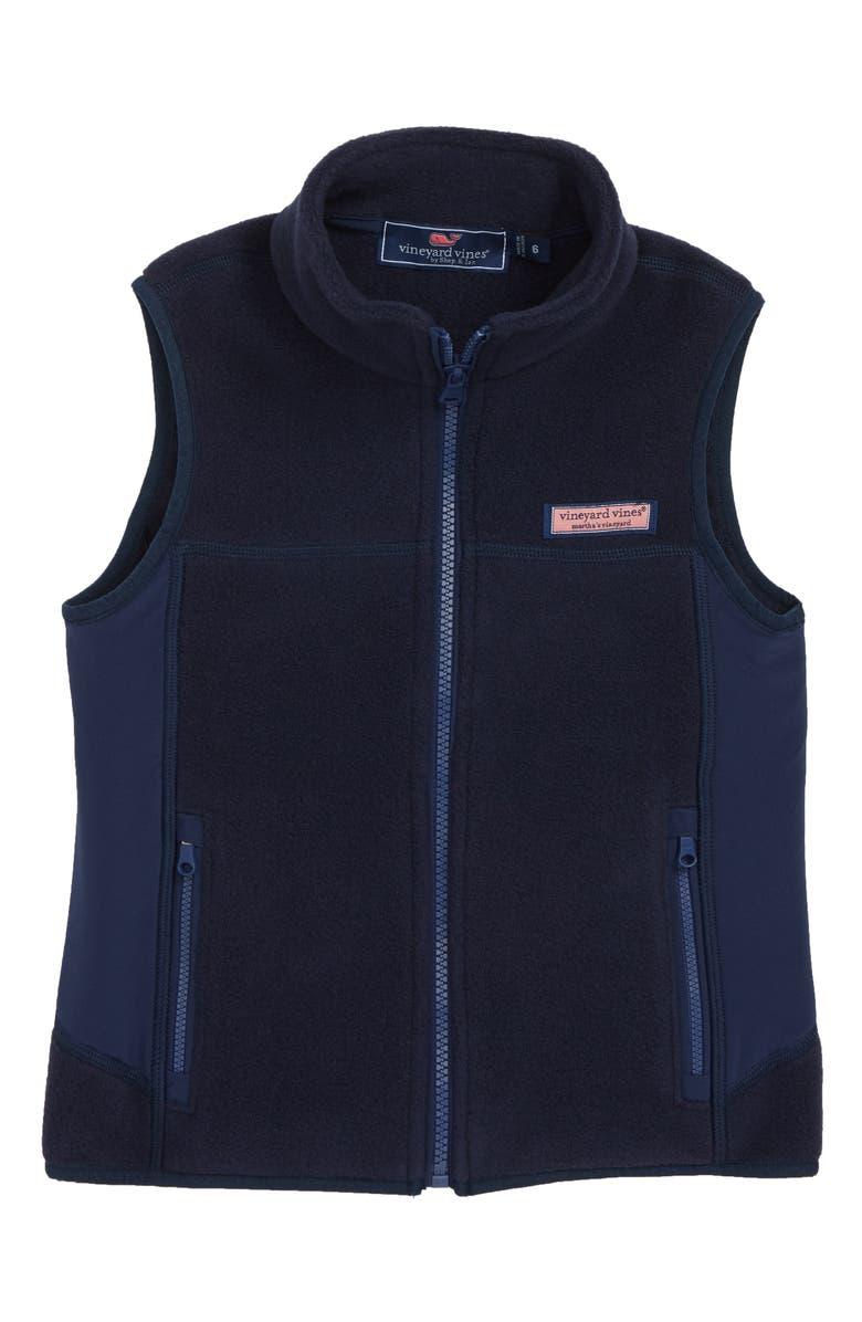 VINEYARD VINES Harbor Fleece Vest, Main, color, VINEYARD NAVY