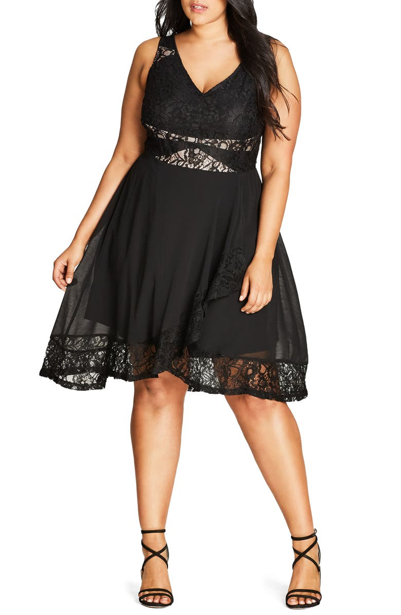 CITY CHIC Seduction Fit & Flare Dress, Main, color, 001