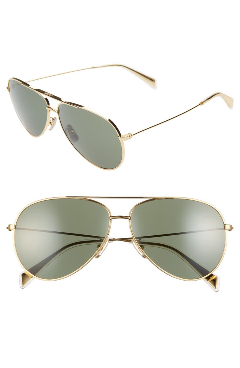 CELINE 61mm Aviator Sunglasses, Main, color, SHINY ENDURA GOLD