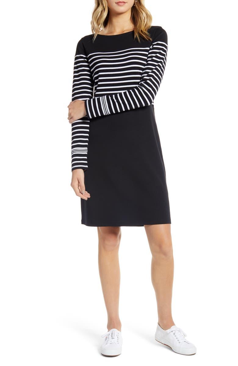 1901 Long Sleeve Knit Dress, Main, color, BLACK- WHITE STRIPE