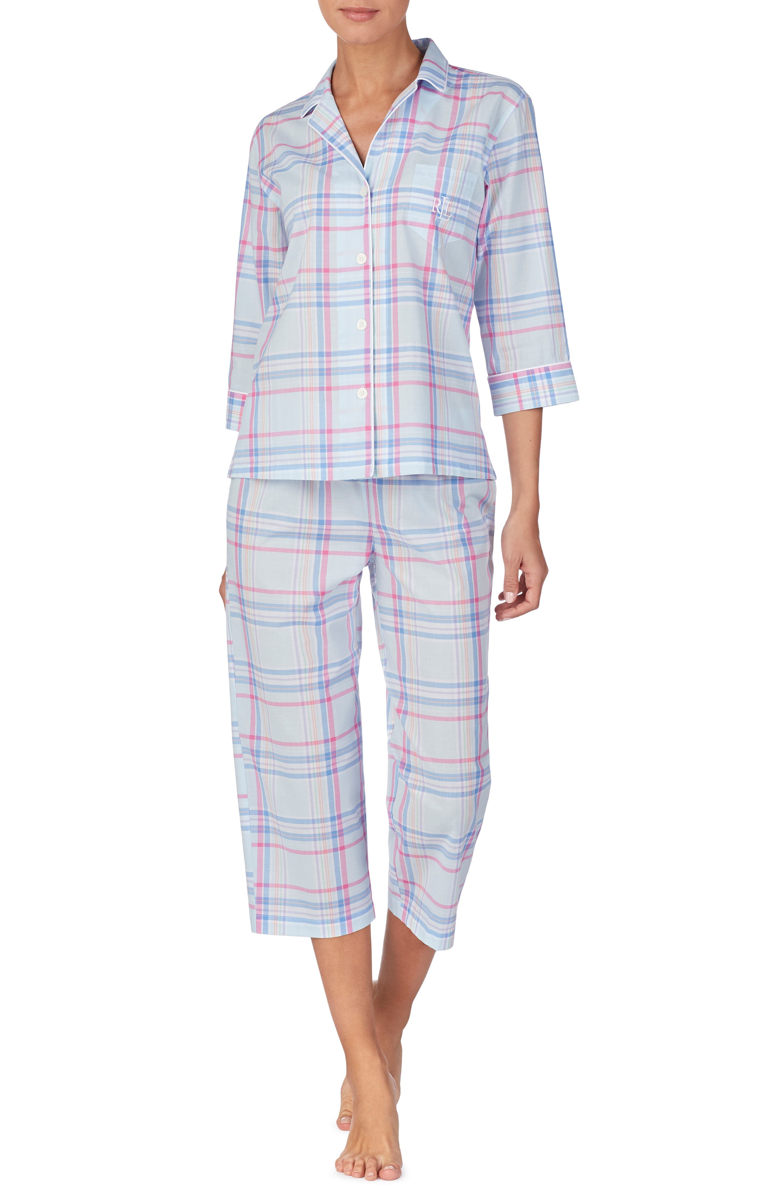 ,                             Capri Pajamas,                             Main thumbnail 1, color,                             BLUE PLAID