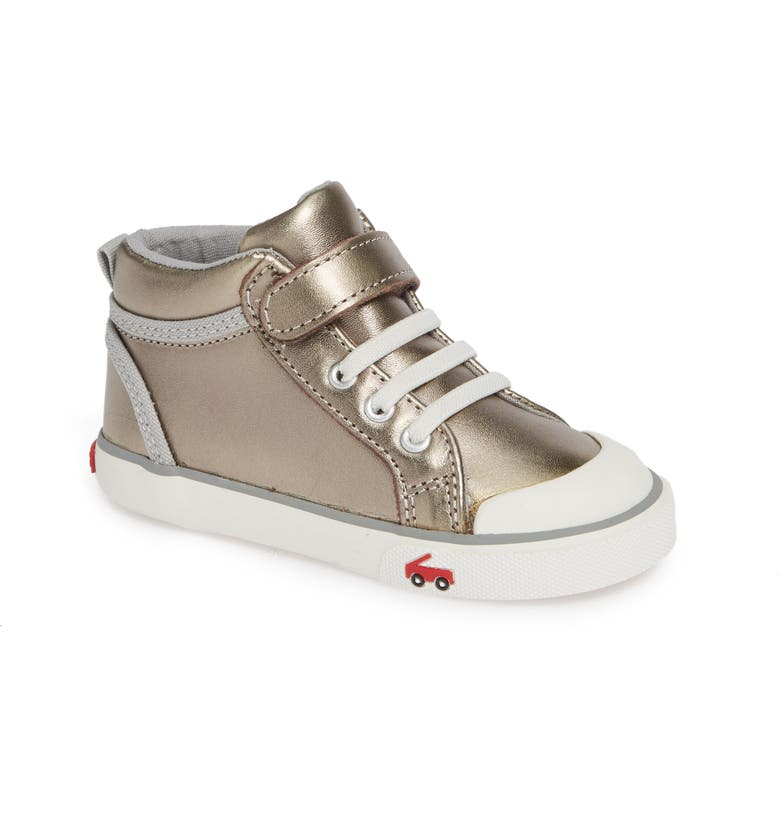 SEE KAI RUN Peyton High Top Sneaker, Main, color, PEWTER LEATHER