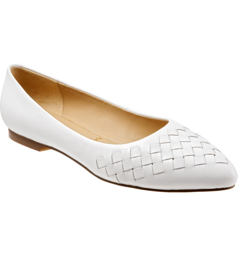 TROTTERS Estee Pointed Toe Flat, Main, color, WHITE LEATHER