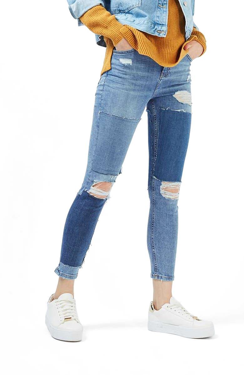 TOPSHOP Moto Jamie Rip Panel Skinny Jeans, Main, color, 400