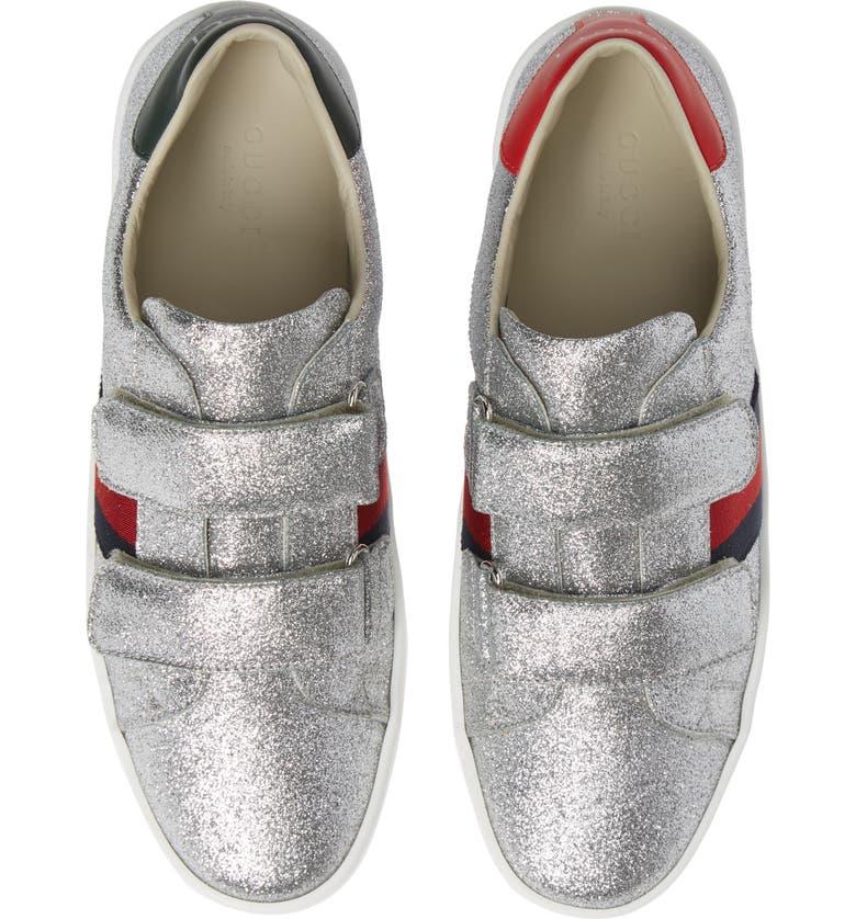 GUCCI New Ace Sneaker, Main, color, SILVER GLITTER