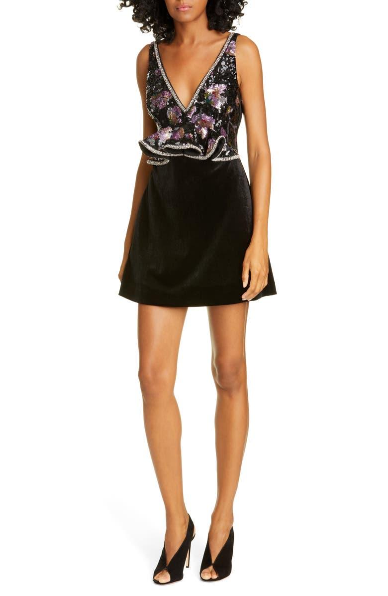 SELF-PORTRAIT Midnight Bloom Sequin Bodice Velvet Dress, Main, color, MULTI