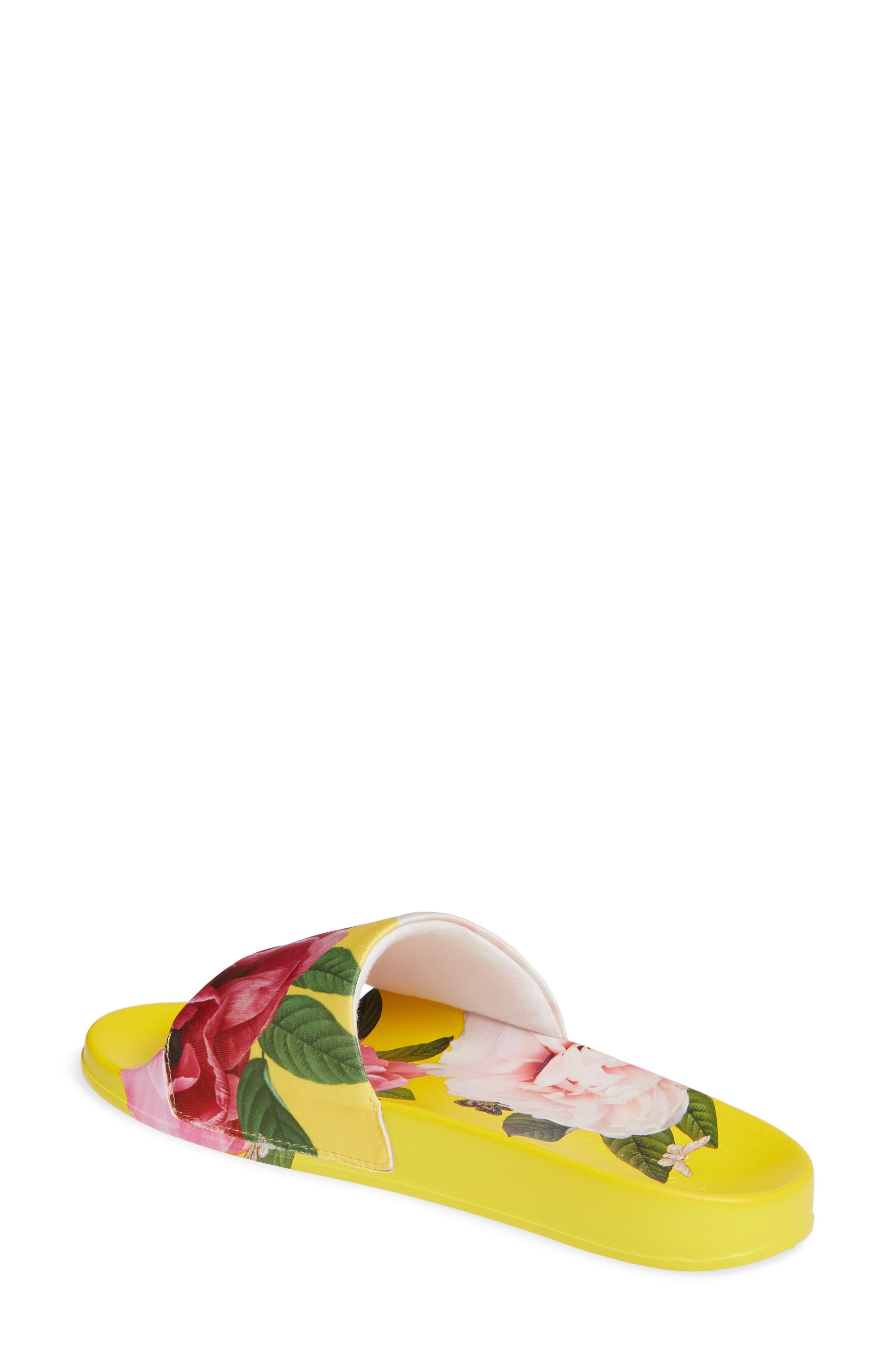,                             Avelini Slide Sandal,                             Alternate thumbnail 2, color,                             MAGNIFICENT YELLOW SATIN