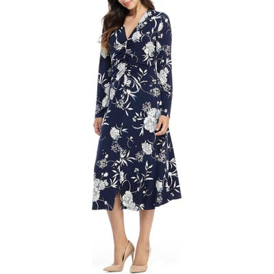 Maggy London Long Sleeve Floral Ruched Jersey Midi Dress, Blue