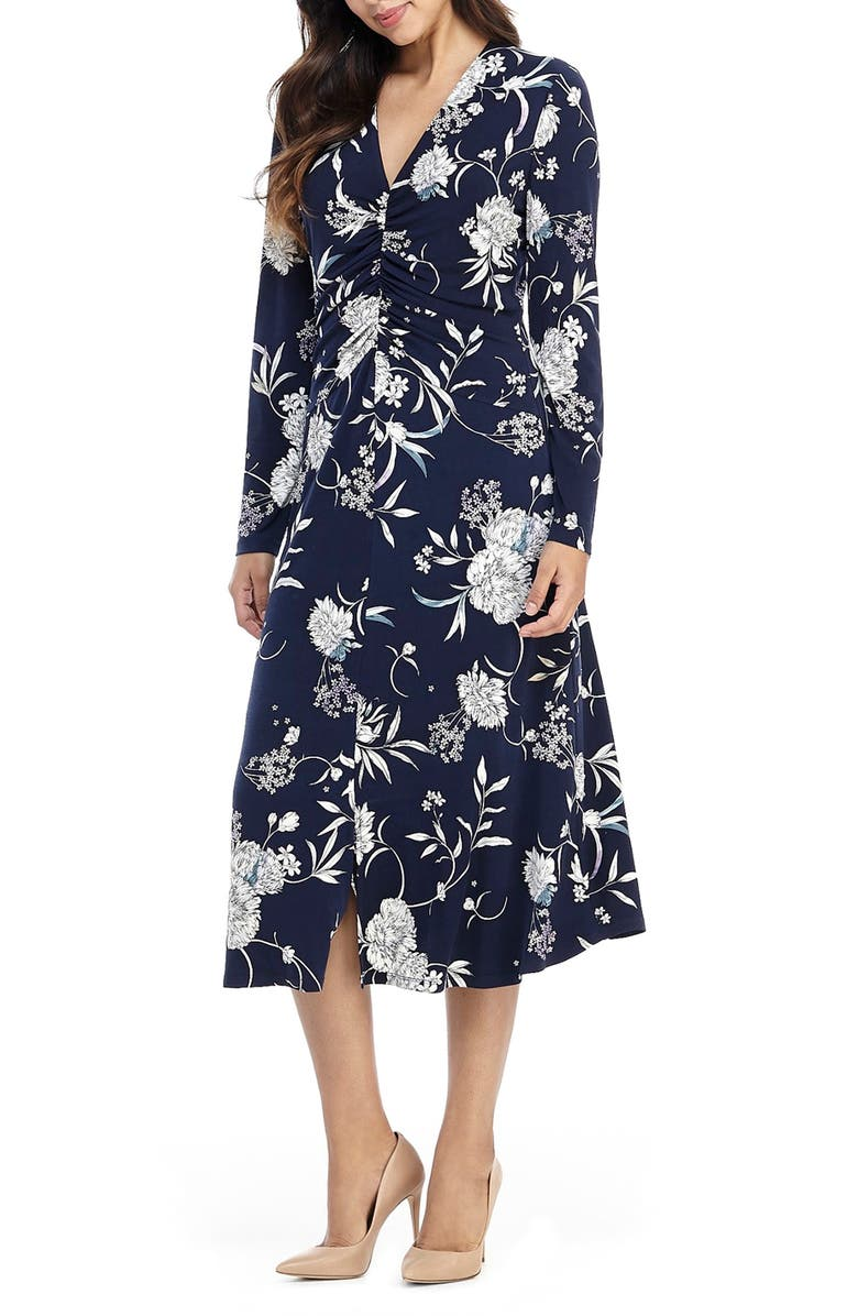 MAGGY LONDON Long Sleeve Floral Ruched Jersey Midi Dress, Main, color, NAVY/ TEAL