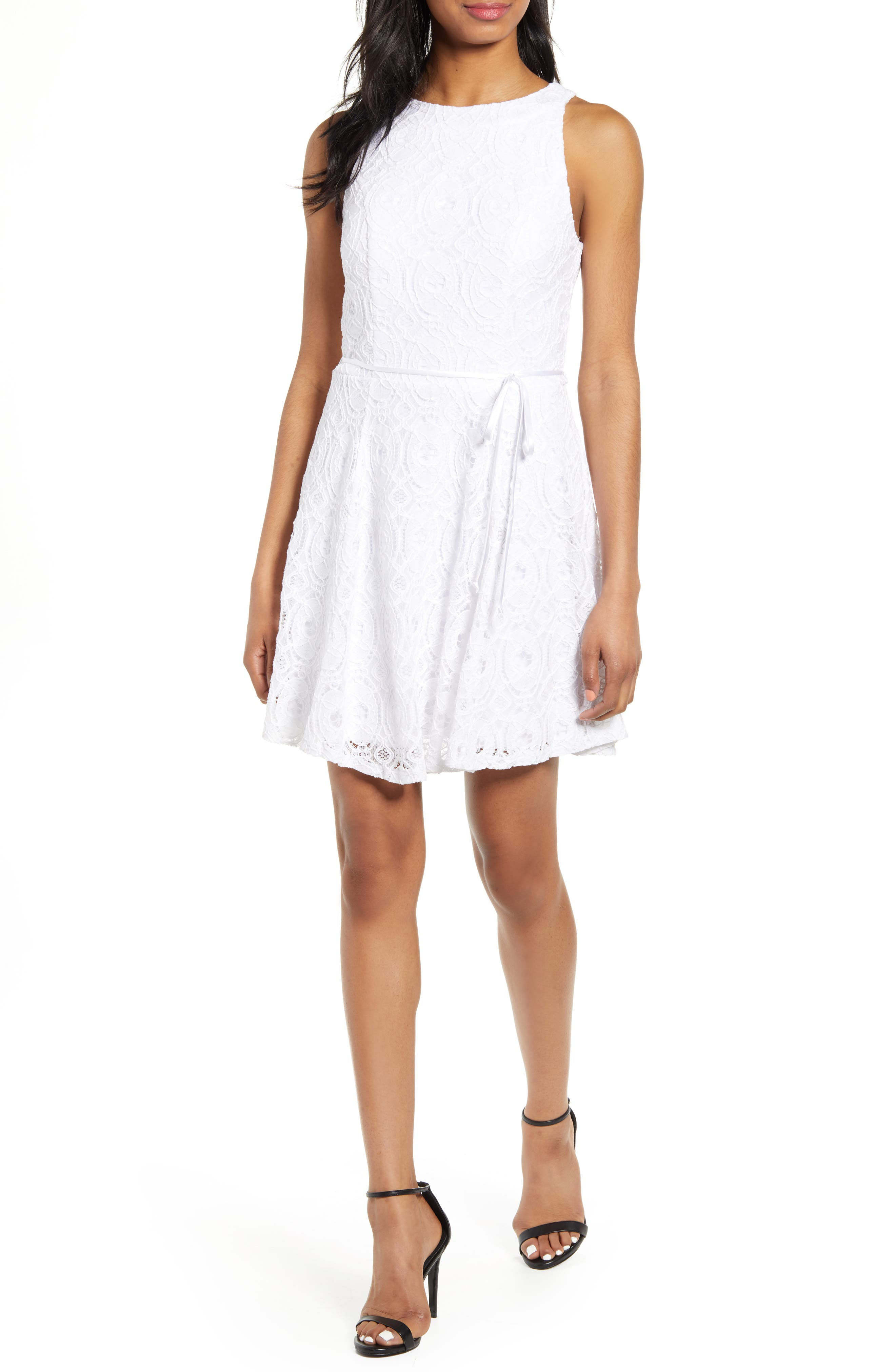 Love, Nickie Lew Lace Tie Waist Cotton Blend Skater Dress, White