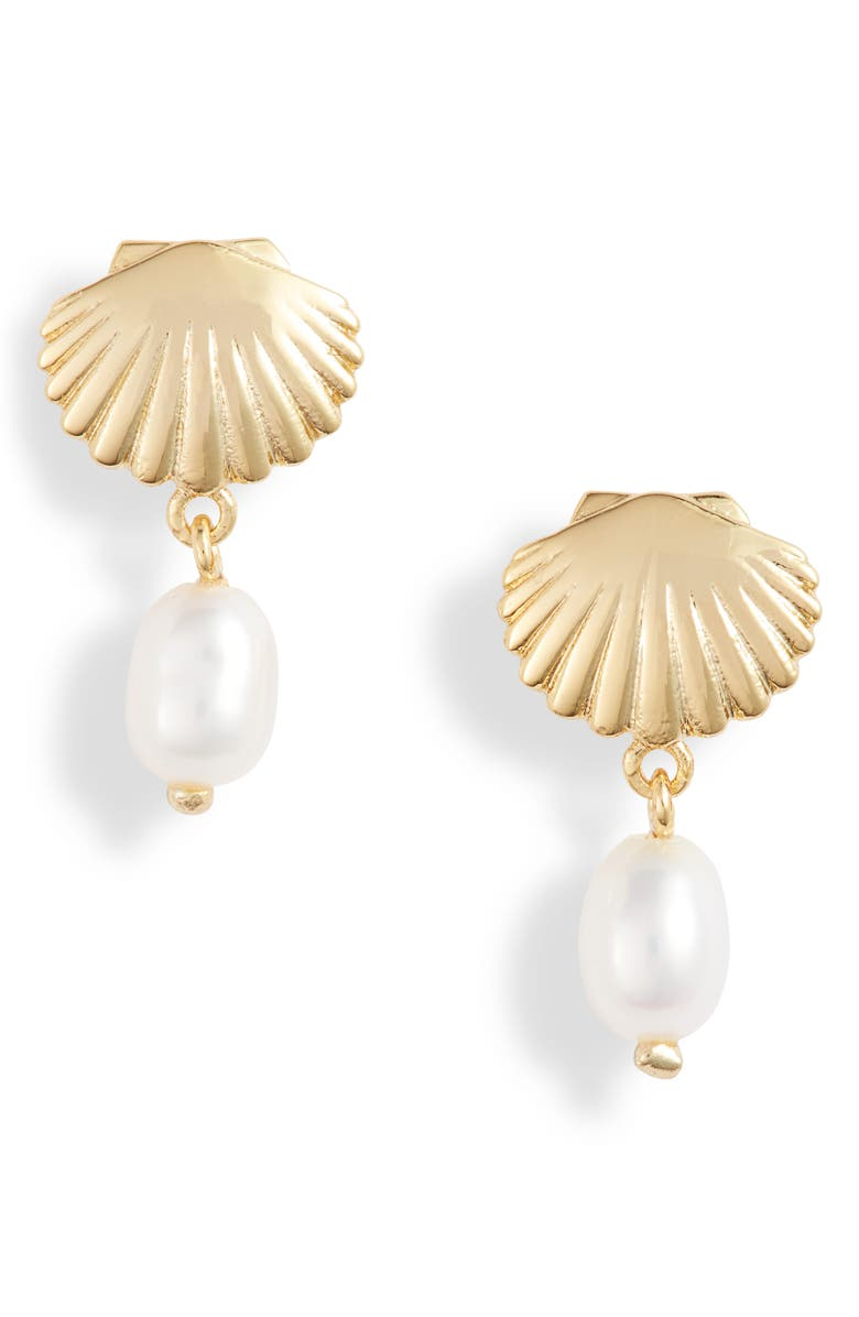 GORJANA Seashell Charm Earrings, Main, color, FRESHWATER PEARL