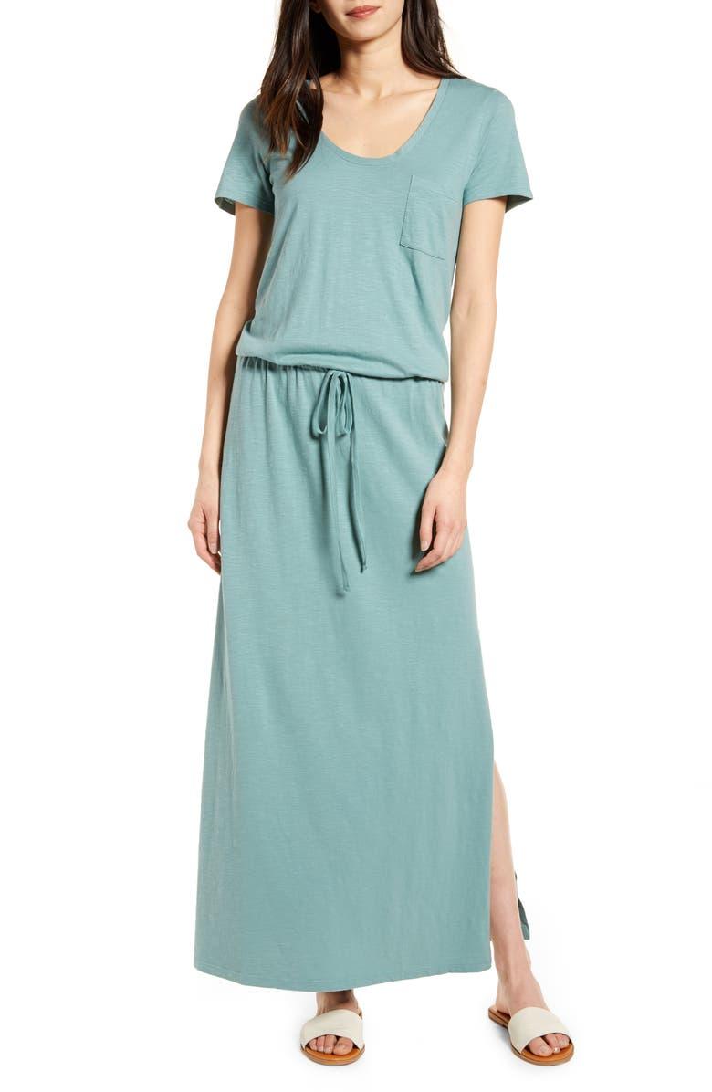 CASLON<SUP>®</SUP> Cotton Blend Maxi Dress, Main, color, GREEN TRELLIS