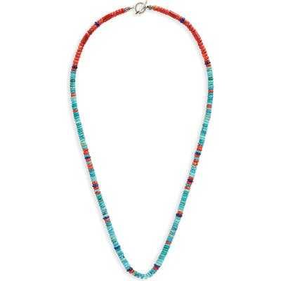 Mikia Heishi Stone & Coral Bead Necklace