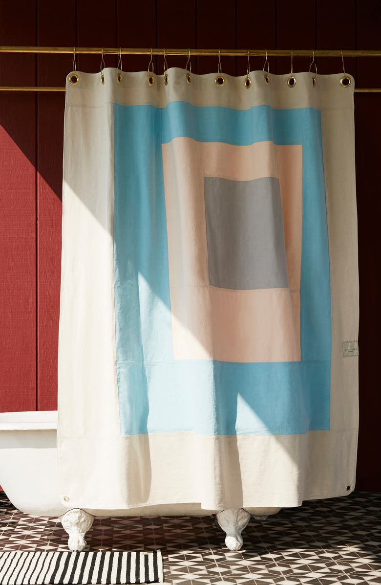 QUIET TOWN The Marfa Cotton Canvas Shower Curtain, Main, color, SKY