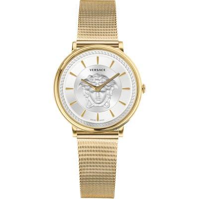 Versace V-Circle Mesh Strap Watch,