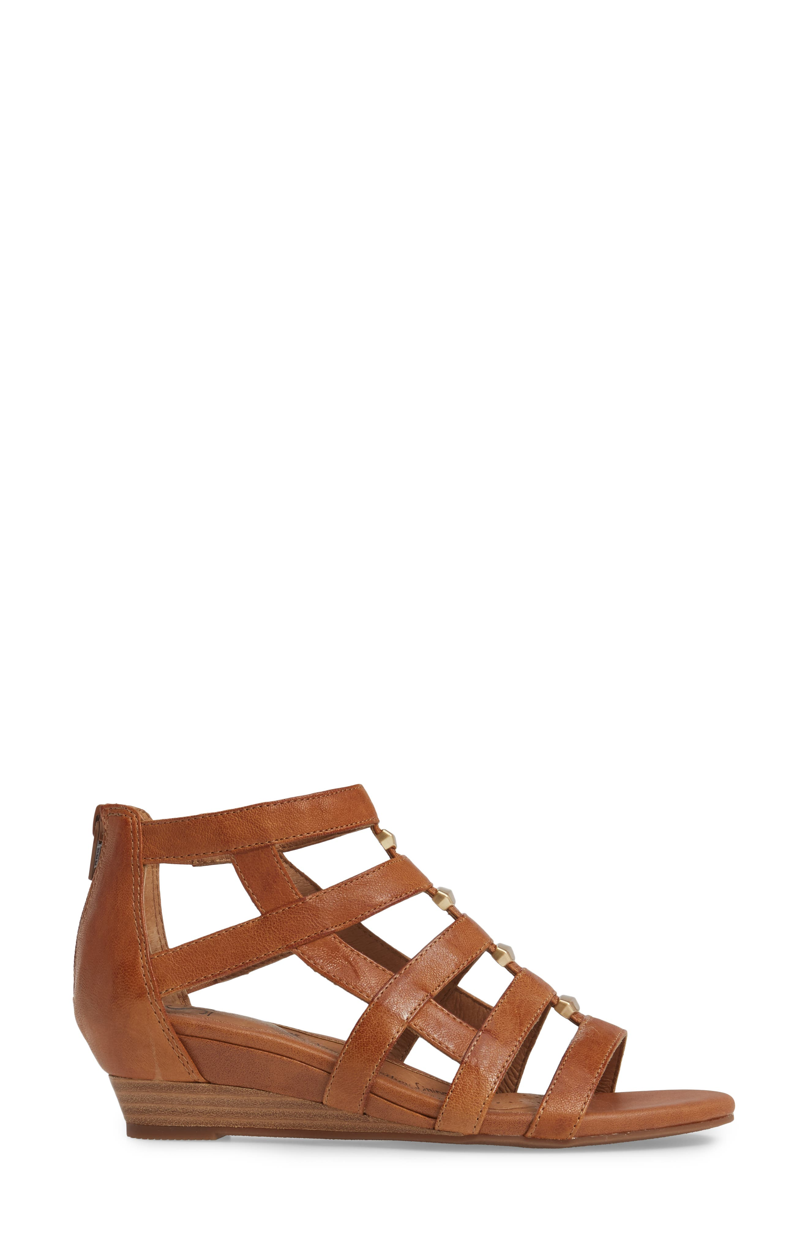 ,                             Rio Gladiator Wedge Sandal,                             Alternate thumbnail 3, color,                             LUGGAGE LEATHER