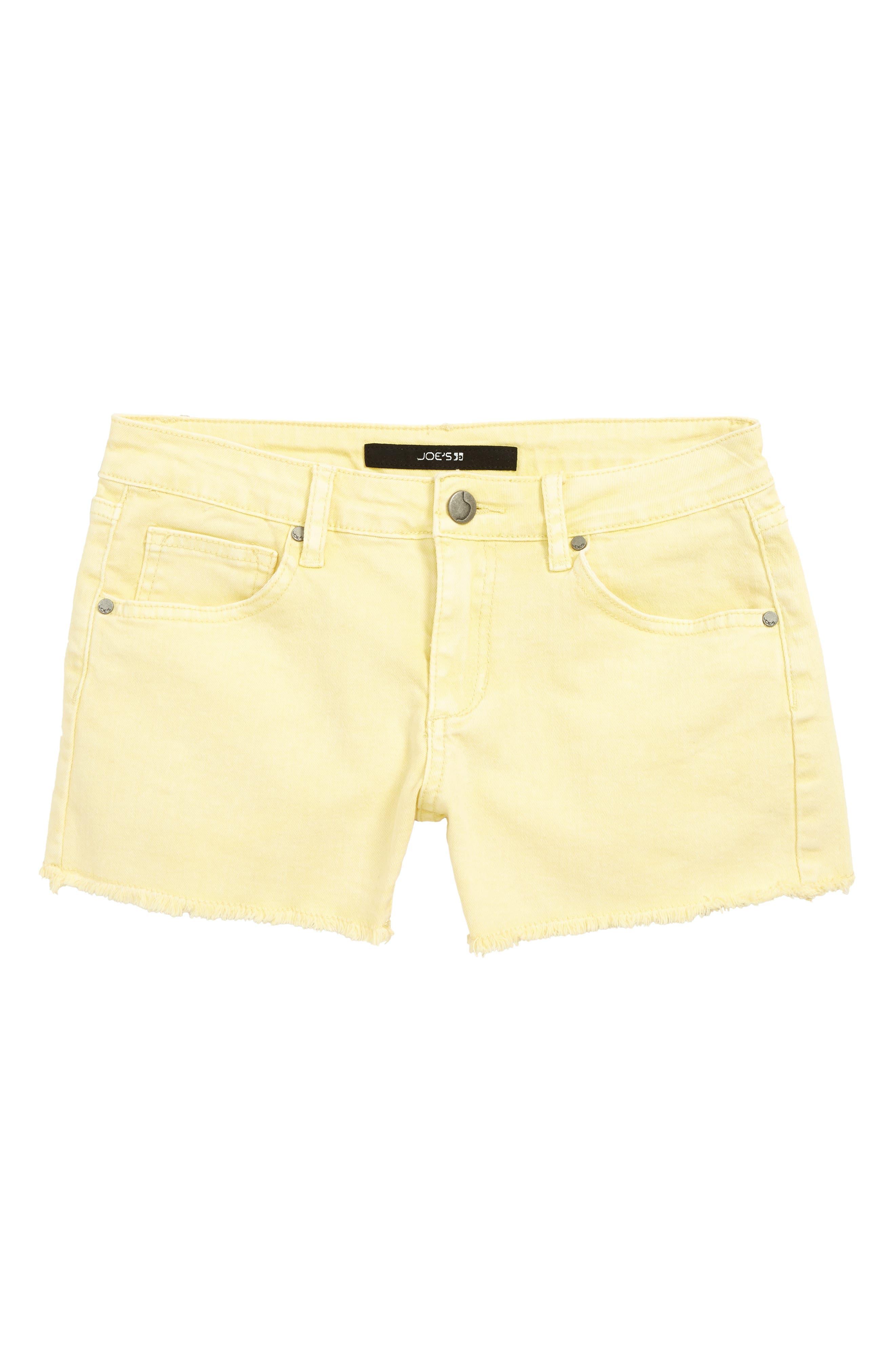 The Markie Cutoff Denim Shorts, Main, color, PALE BANANA