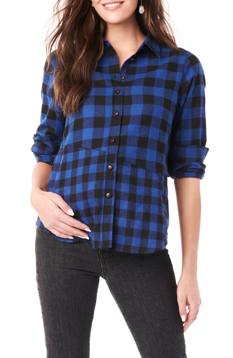 LOYAL HANA Blake Flannel Maternity/Nursing Shirt, Main, color, BLUE AND BLACK