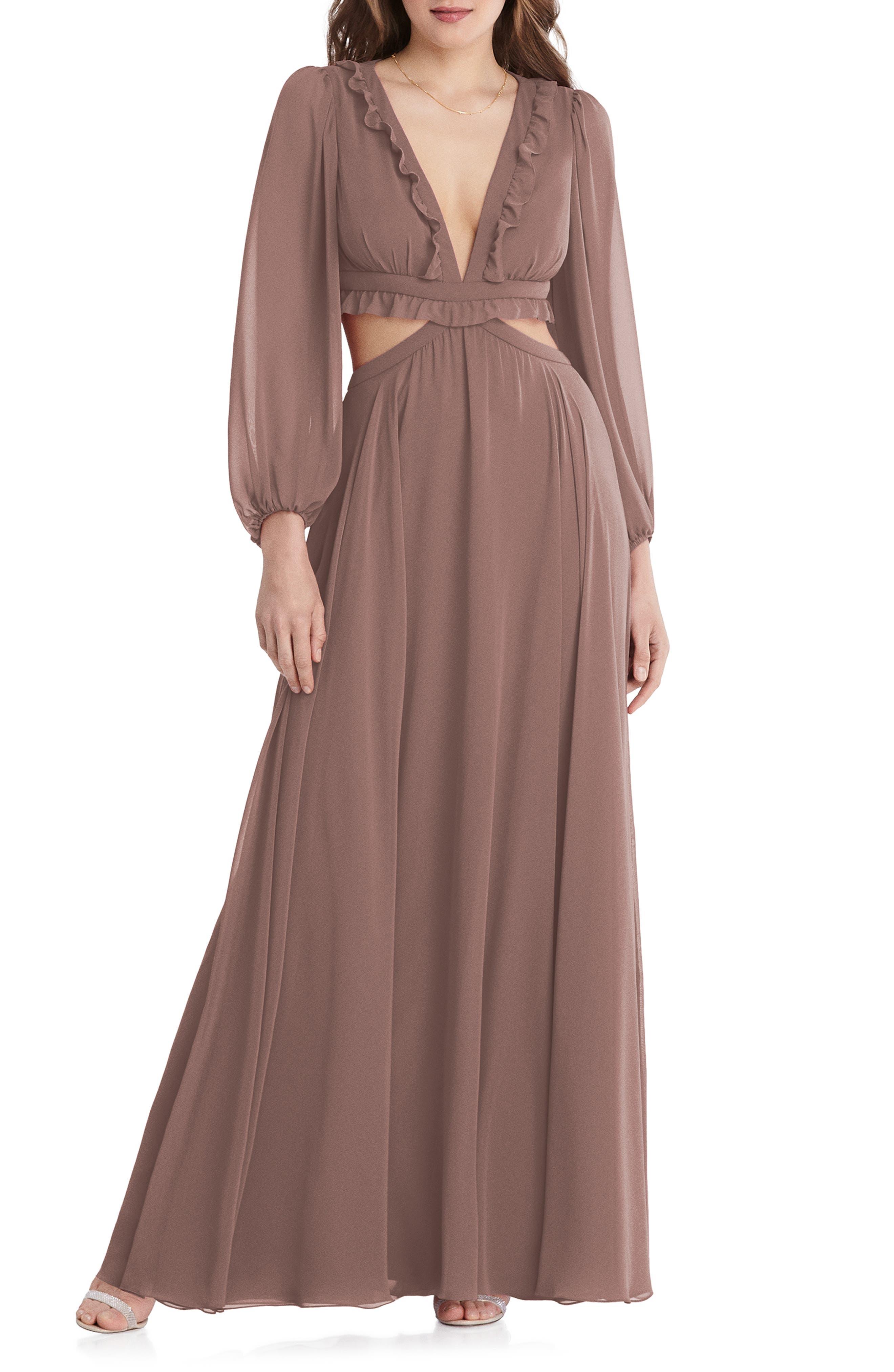 Harlow Cutout Detail Long Sleeve Chiffon Gown