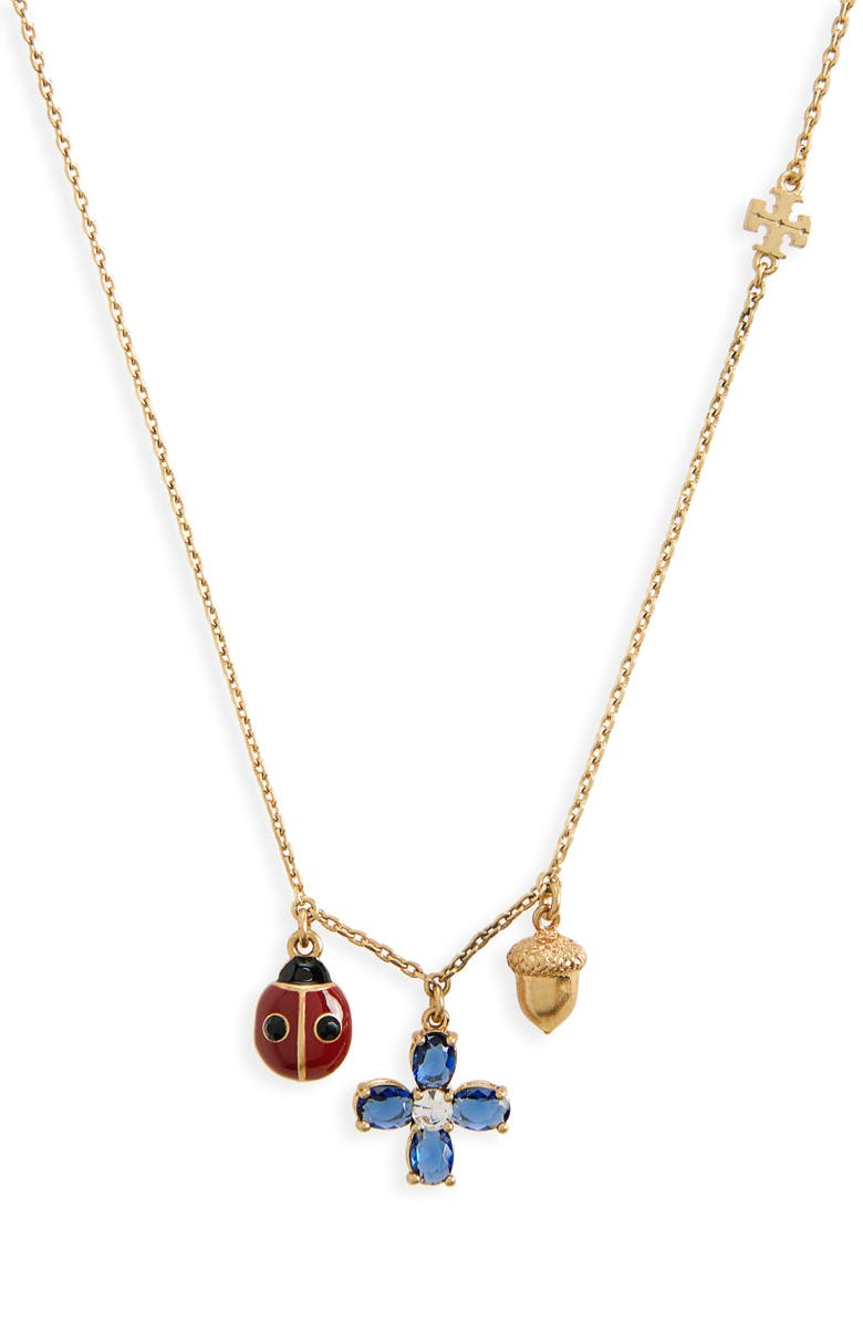 TORY BURCH Charm Necklace, Main, color, ROLLED BRASS / BLUE
