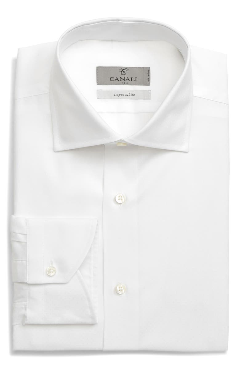 CANALI Slim Fit Non-Iron Solid Dress Shirt, Main, color, WHITE