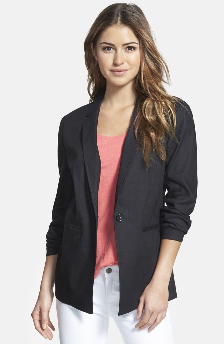 HALOGEN<SUP>®</SUP> Seamed Back Linen Blend Blazer, Main, color, 001