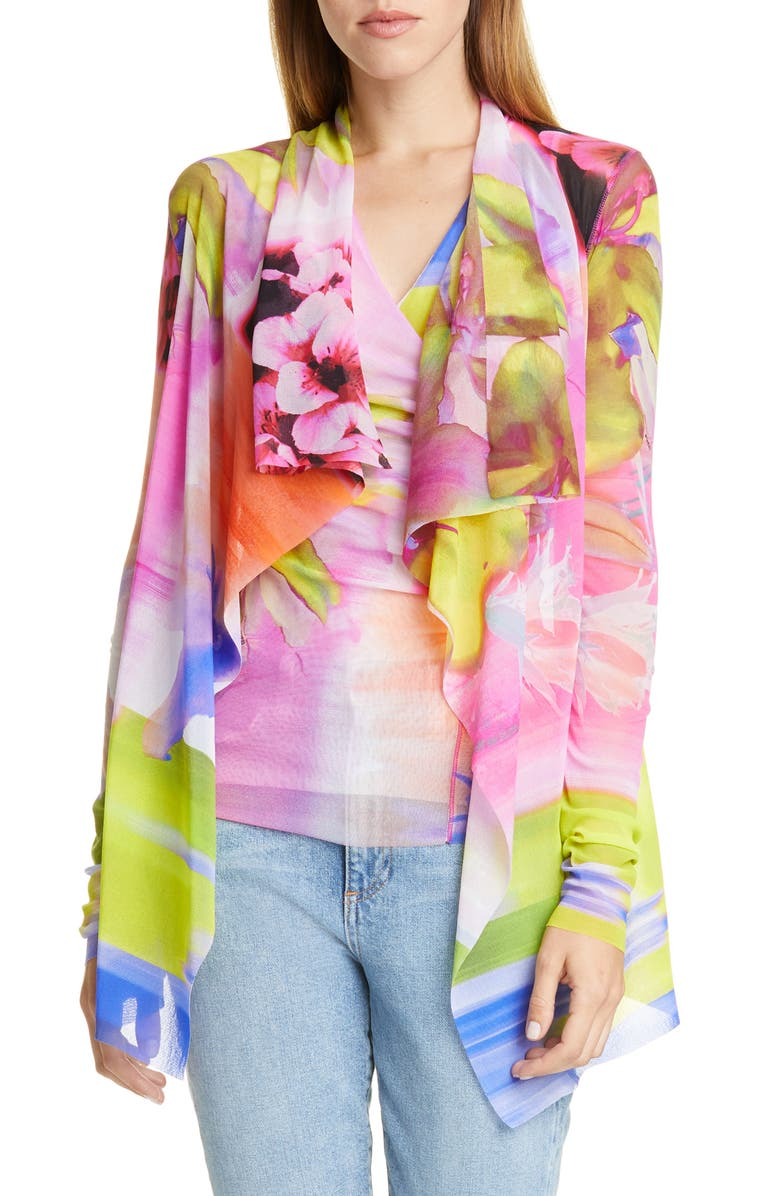 FUZZI Floral Drape Jacket, Main, color, FIORE