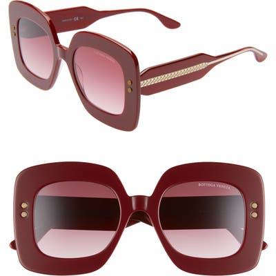 Bottega Veneta 50Mm Gradient Square Sunglasses - Burgundy/ Red