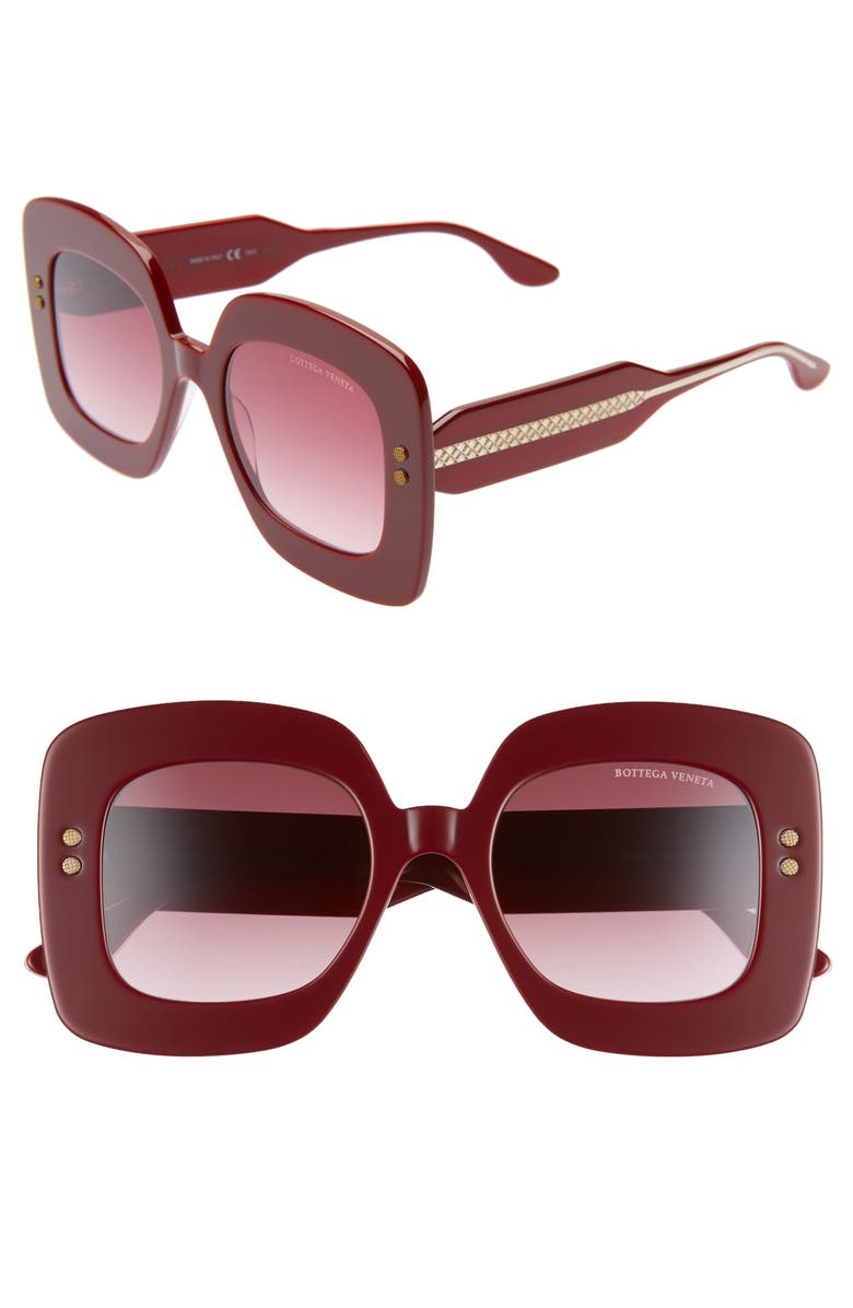 BOTTEGA VENETA 50mm Gradient Square Sunglasses, Main, color, BURGUNDY/ RED