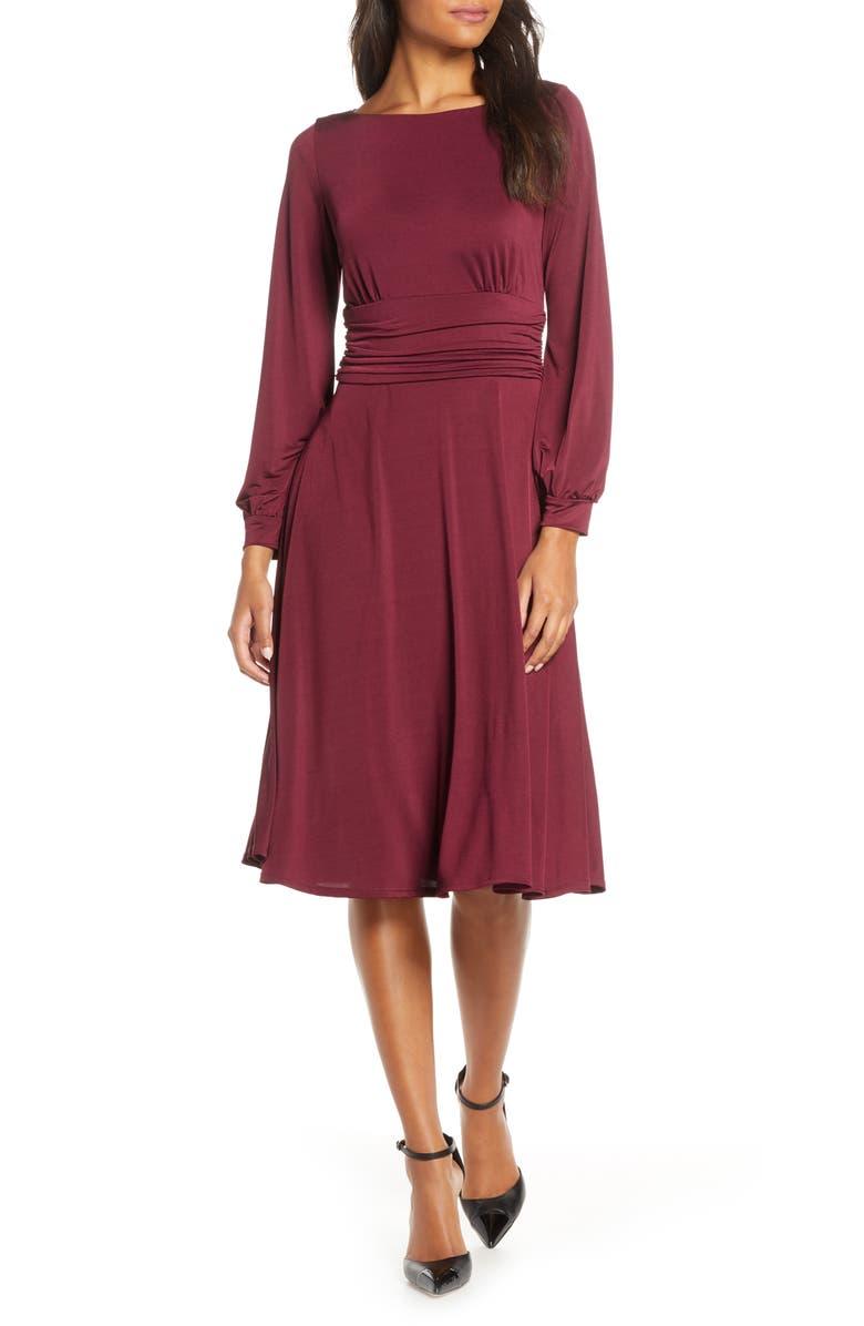 HARPER ROSE Ruched Waist Long Sleeve Jersey Dress, Main, color, 600