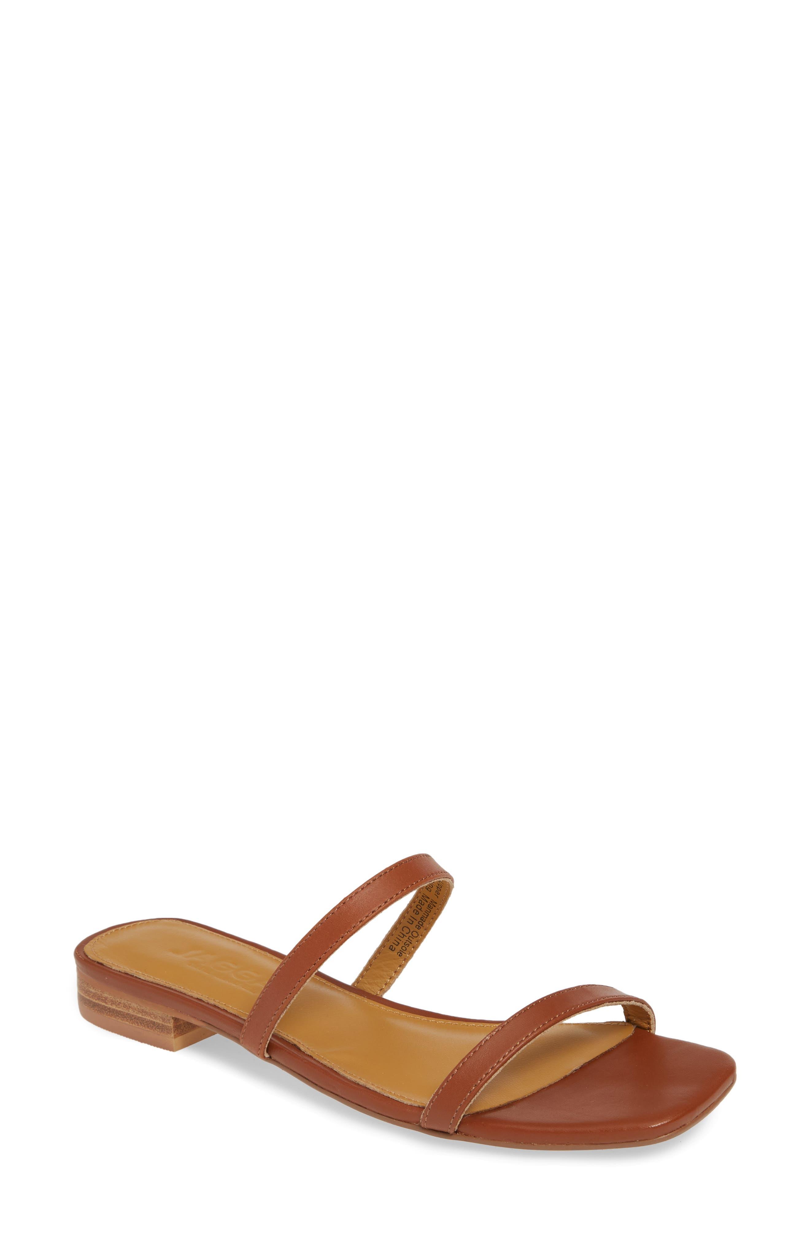 Sprung Slide Sandal, Main, color, RUST LEATHER