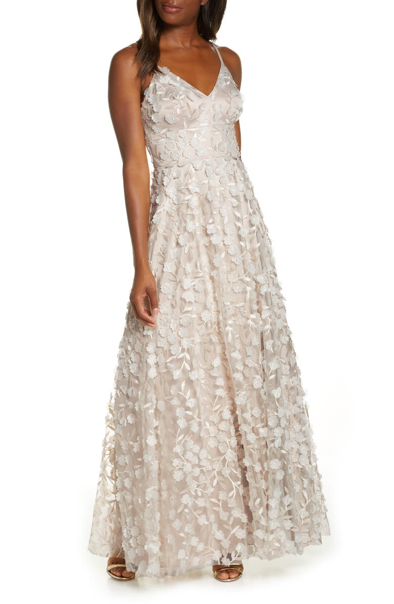 ELIZA J 3D Floral Embellished Gown, Main, color, IVORY