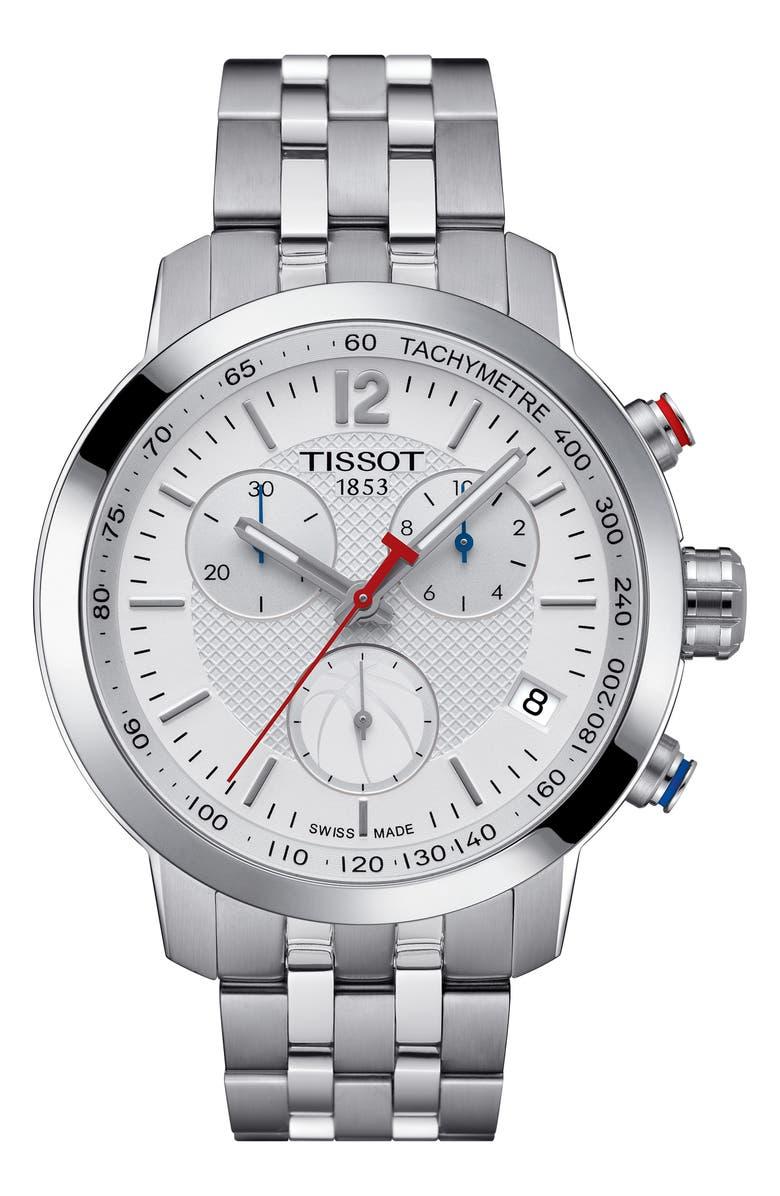TISSOT PRC200 Chronograph NBA Bracelet Watch, 41mm, Main, color, 040