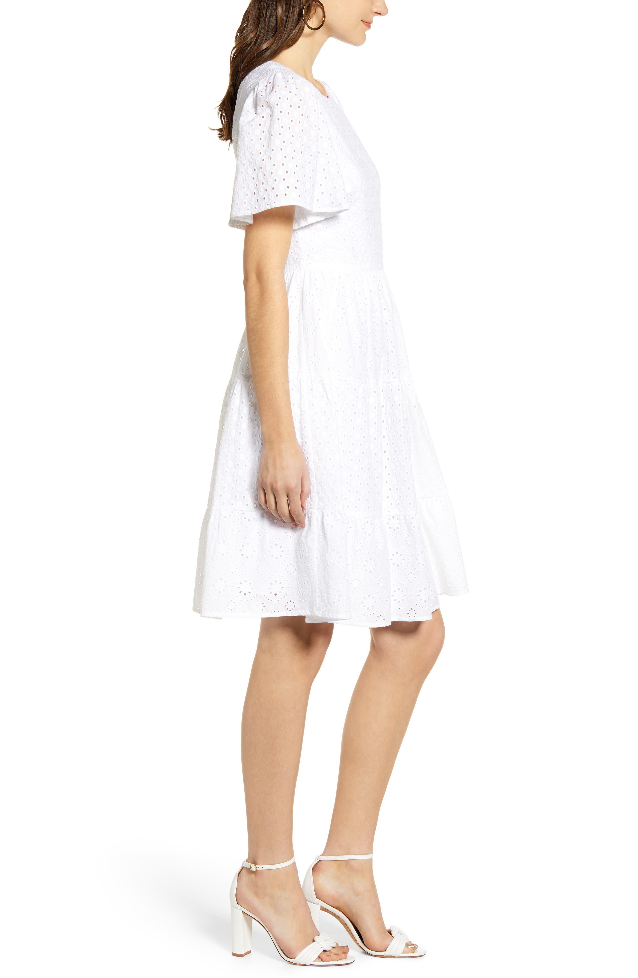 ,                             Mixed Eyelet A-Line Dress,                             Alternate thumbnail 4, color,                             WHITE