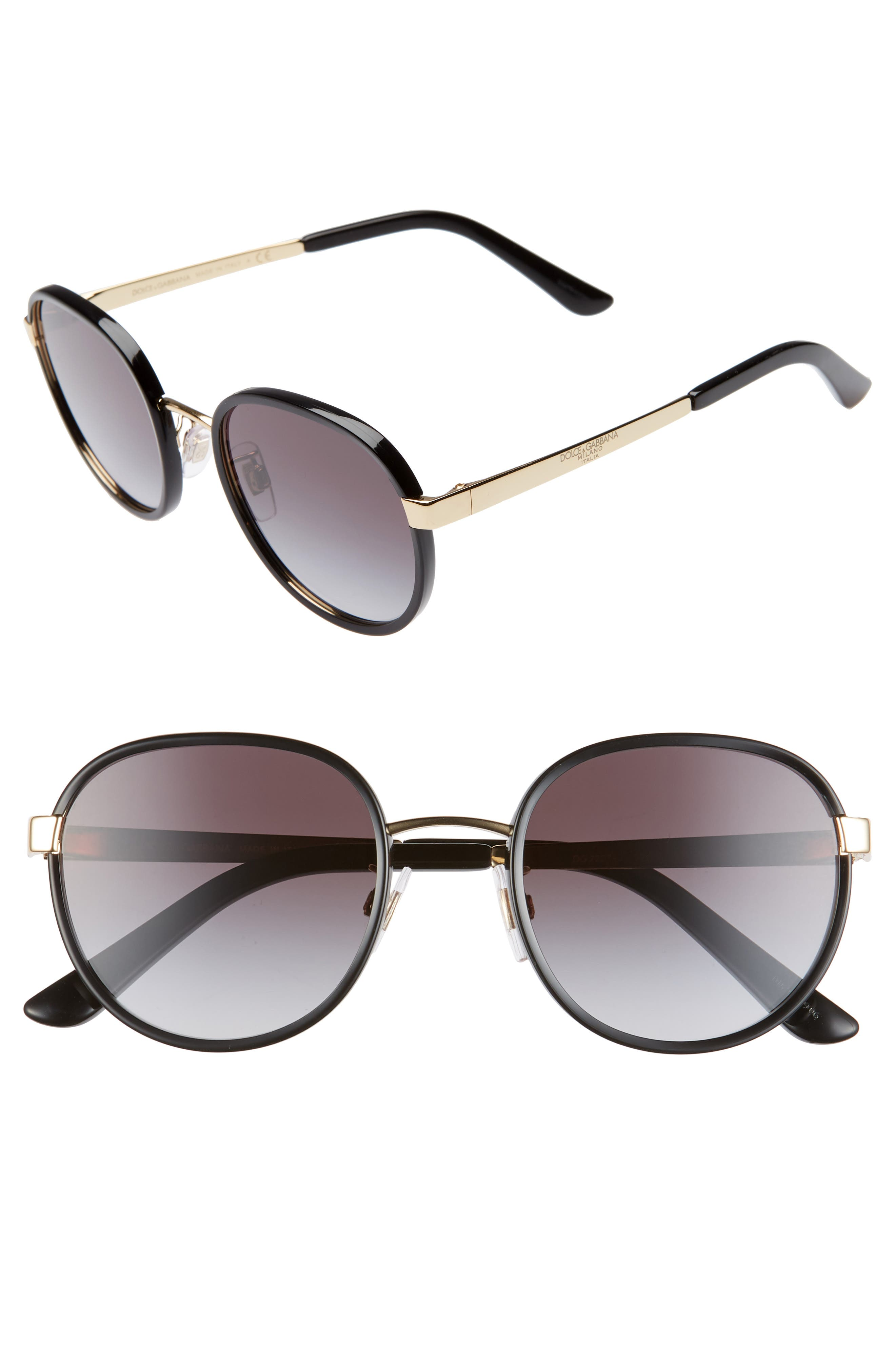 Dolce & gabbana 52Mm Round Sunglasses - Black/ Gold