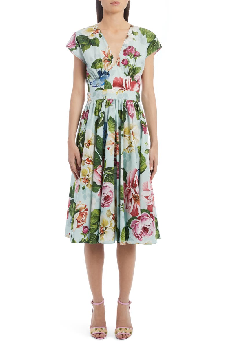 DOLCE&GABBANA Floral Belted Cotton A-Line Dress, Main, color, 400