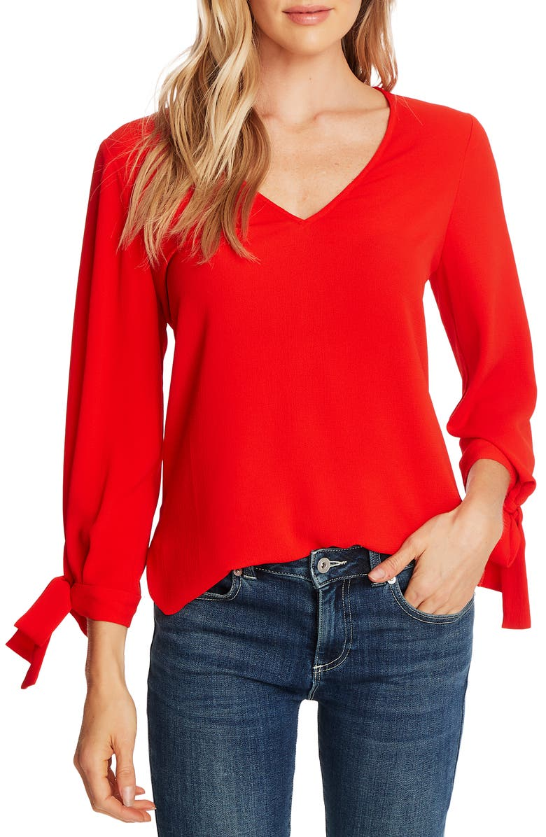 CECE Tie Sleeve Top, Main, color, CANDY APPLE