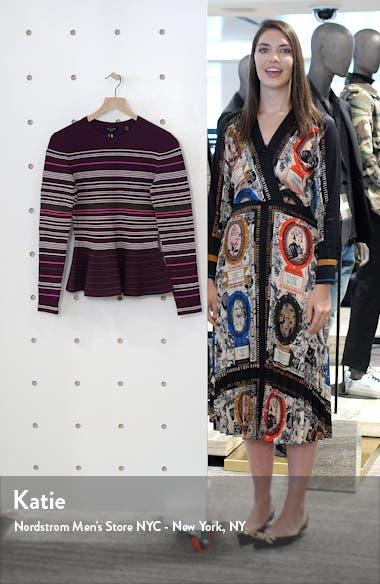 Leytina Stripe Peplum Sweater, sales video thumbnail