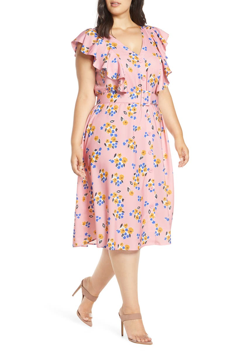 ELOQUII Ruffled Fit & Flare Midi Dress, Main, color, NATURALE ON DOTS NOT NATURAL